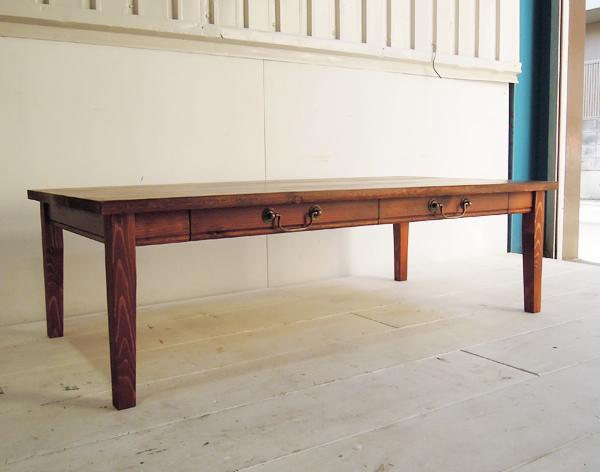 アンティークパイン家具,ローテーブル,引き出し付き