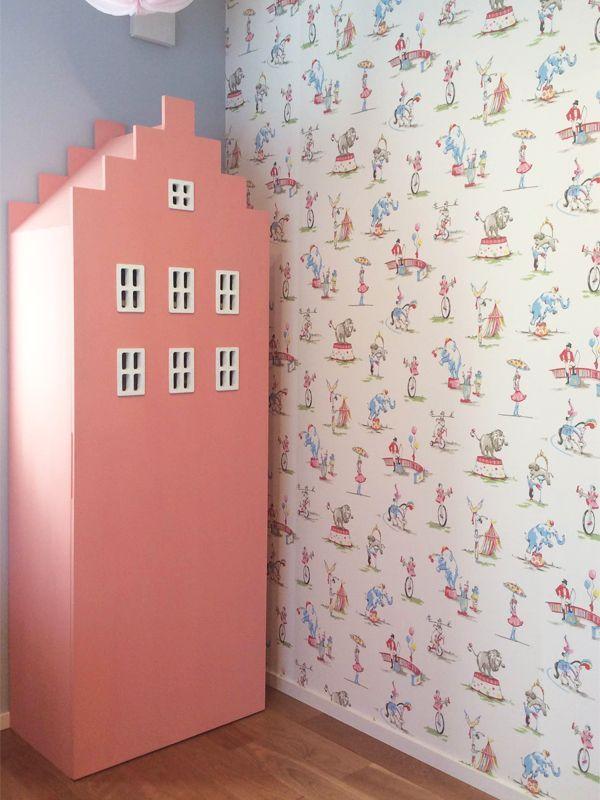 ビル型ブックシェルフかわいい本棚ピンク