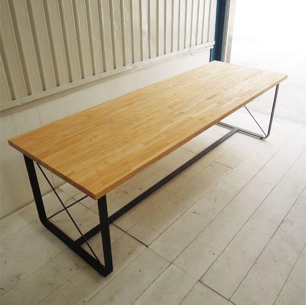 ゴム集成材,鉄脚テーブル,サイズオーダー