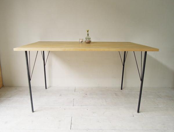 鉄脚ダイニングテーブル、無垢板×アイアンレッグテーブル1350