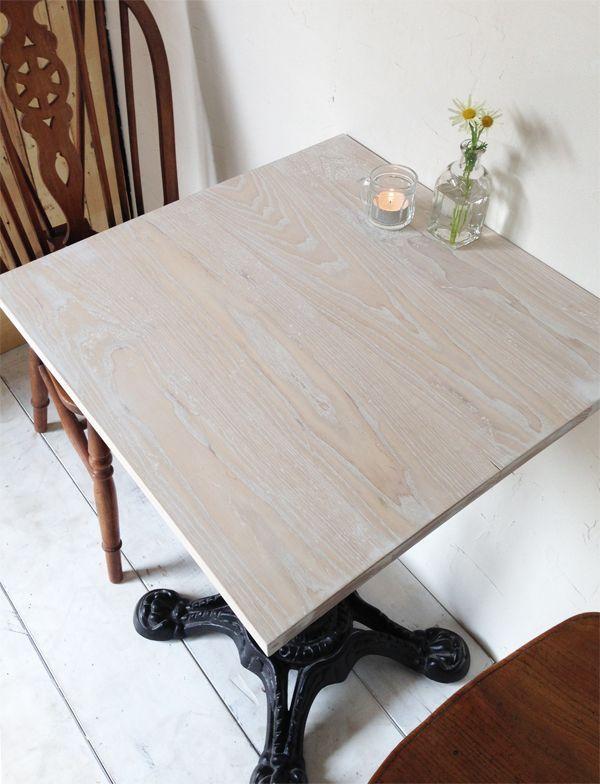 業務用アイアンテーブル600角、無垢板