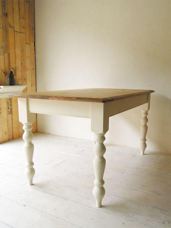 ホワイトダイニングテーブル、パイン材