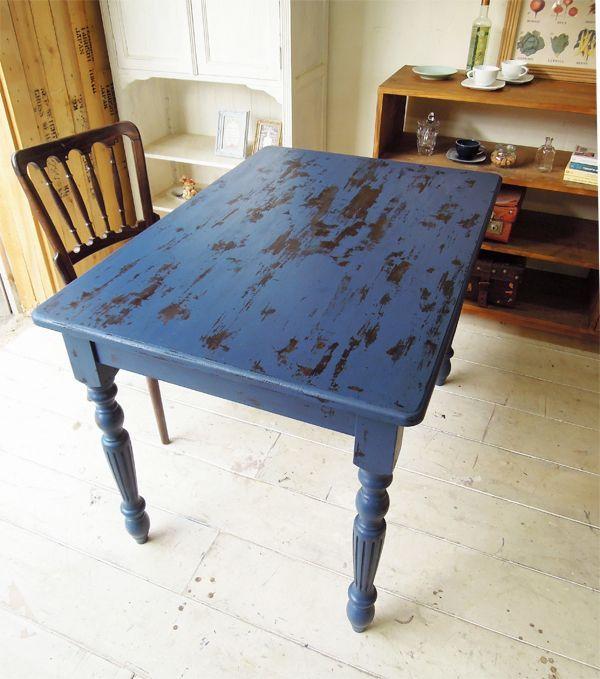 アンティークダイニングテーブル、ブルー、店舗什器にもおすすめ
