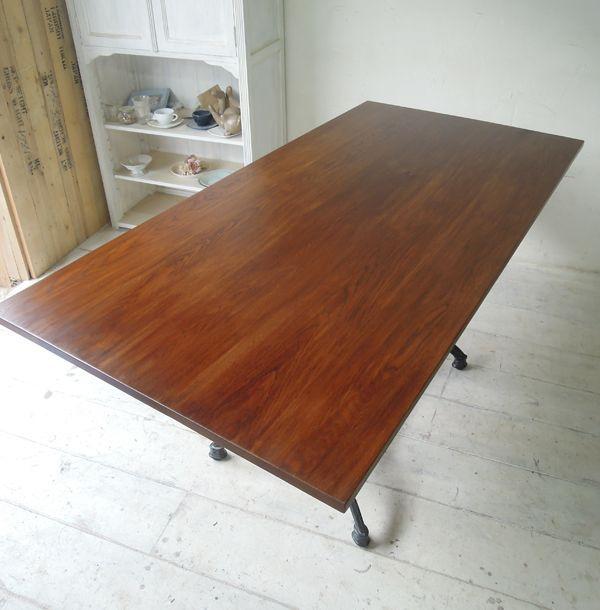 ホワイトオーク無垢天板、鉄脚テーブル