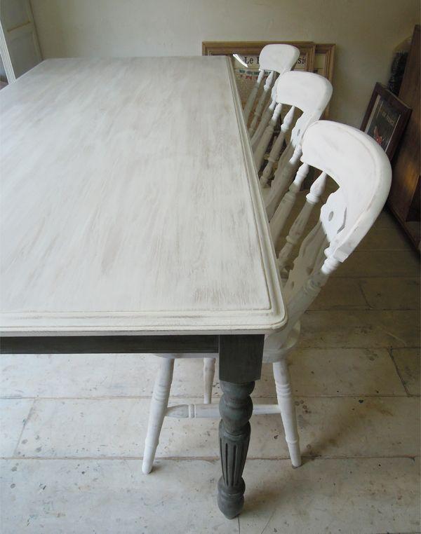 シャビーホワイトのダイニングテーブル天板