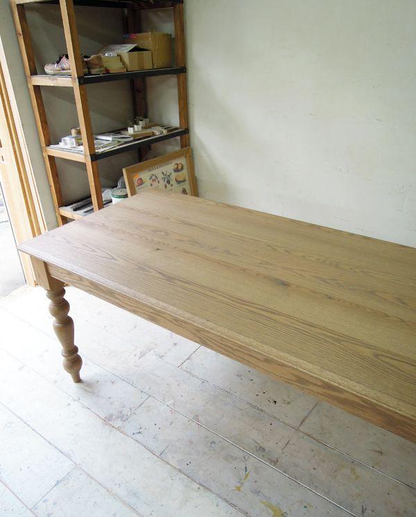 レッドオーク無垢天板テーブル@大阪東京