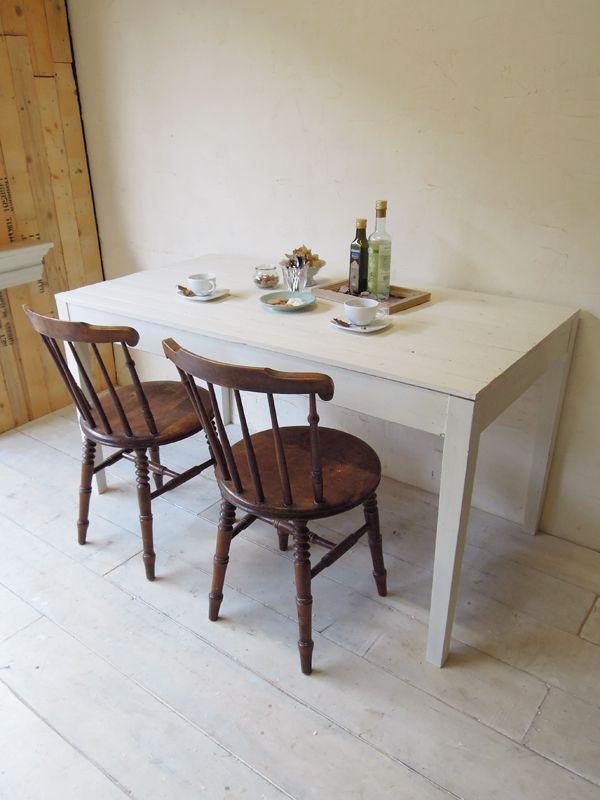 アンティークホワイトダイニングテーブル、古材天板1400