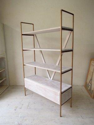 画像1: オーク×真鍮 ディスプレイシェルフ4段