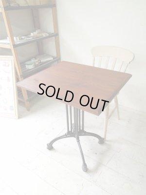 パイン材を使った無垢板天板×鉄脚テーブル