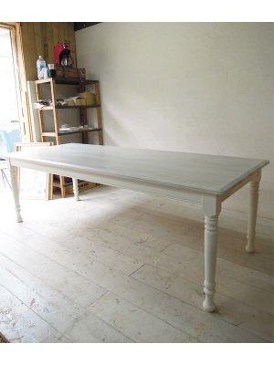 ホワイトトーンのターンドレッグダイニングテーブル