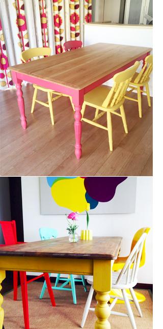 北欧家具カラフルダイニングテーブルイエローピンク