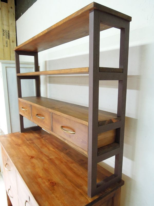オープン棚,パイン家具,アイアンシェルフ