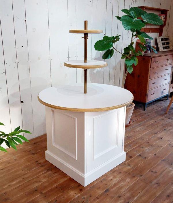 ラウンドシェルフ,丸テーブル什器