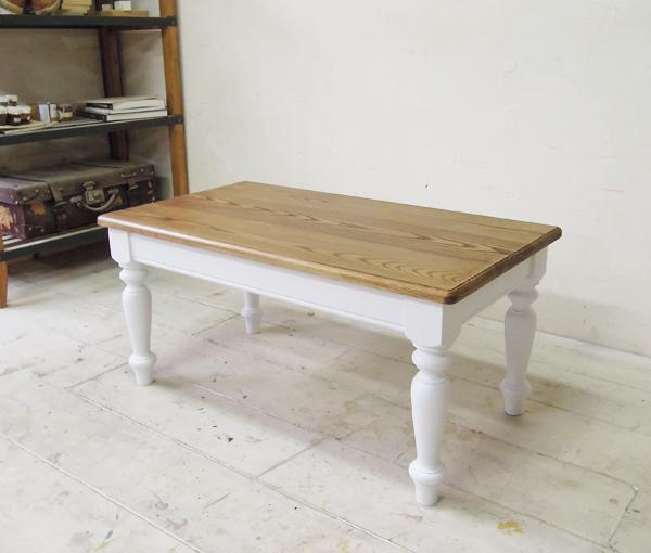 ホワイトローテーブル,無垢板