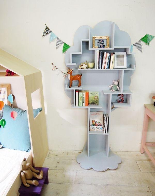ツリー型ブックシェルフかわいい本棚グレー