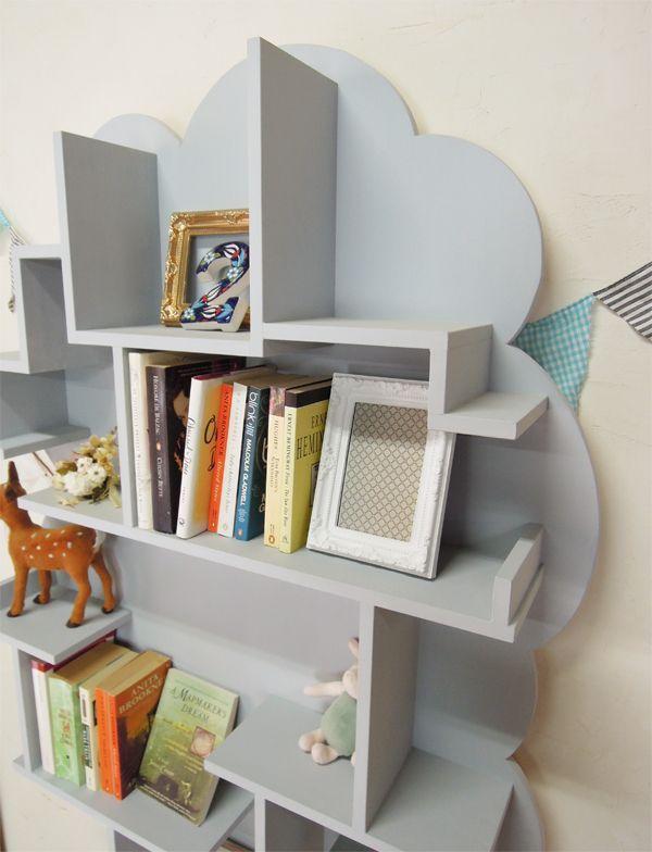 ツリー型ブックシェルフ木の形の本棚かわいい本棚グレー