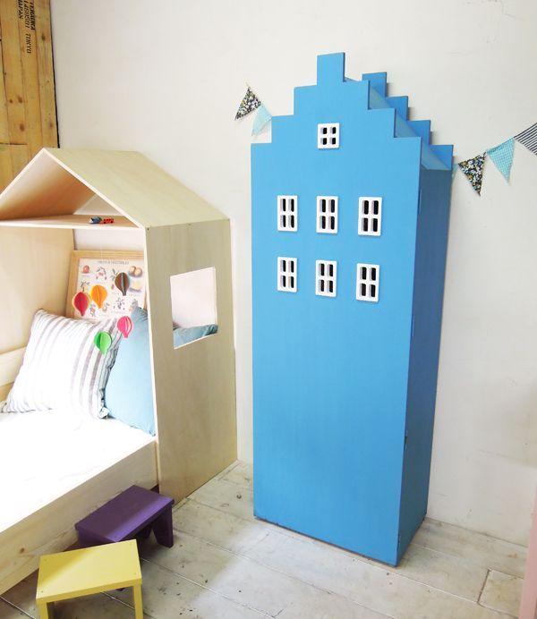 ビル型本棚ブルー、収納家具タンス