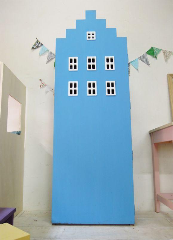 ビル型ブックシェルフかわいい本棚ブルー