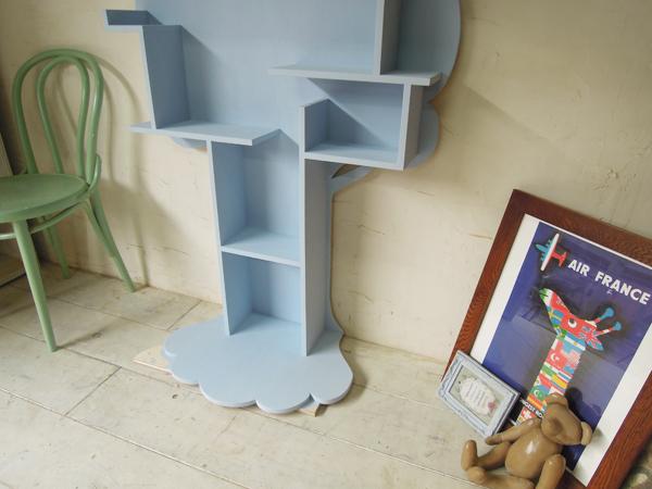 ツリー型本棚,水色,ブルー