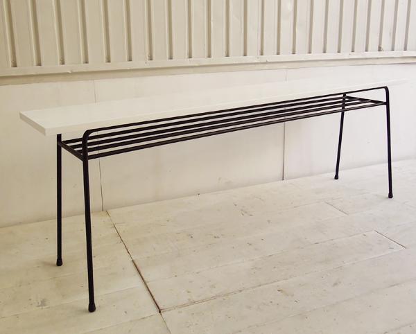 ホワイト,鉄脚テーブル