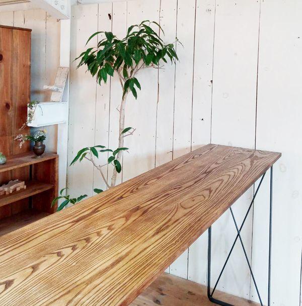 天然木,カウンター,鉄脚テーブル