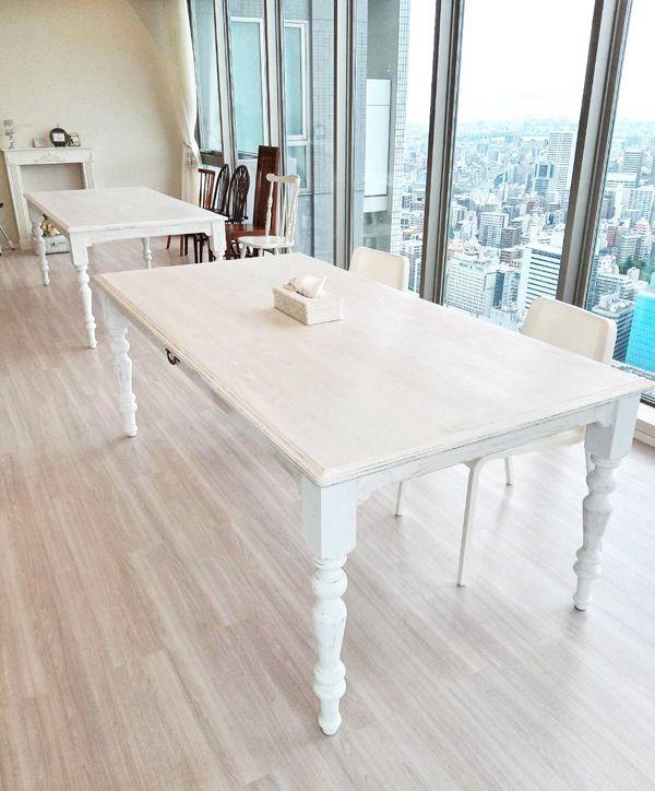 大きなダイニングテーブル,自宅サロン,シャビーホワイト