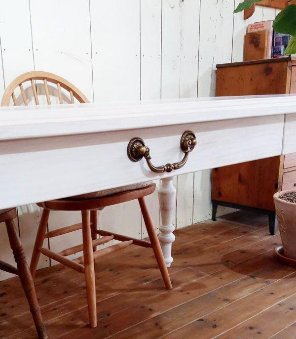 引き出し付きダイニングテーブル,真鍮取っ手