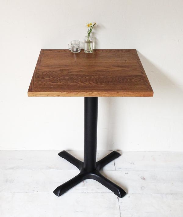 飲食店カフェ向けの鉄脚テーブル550角、オーク無垢板