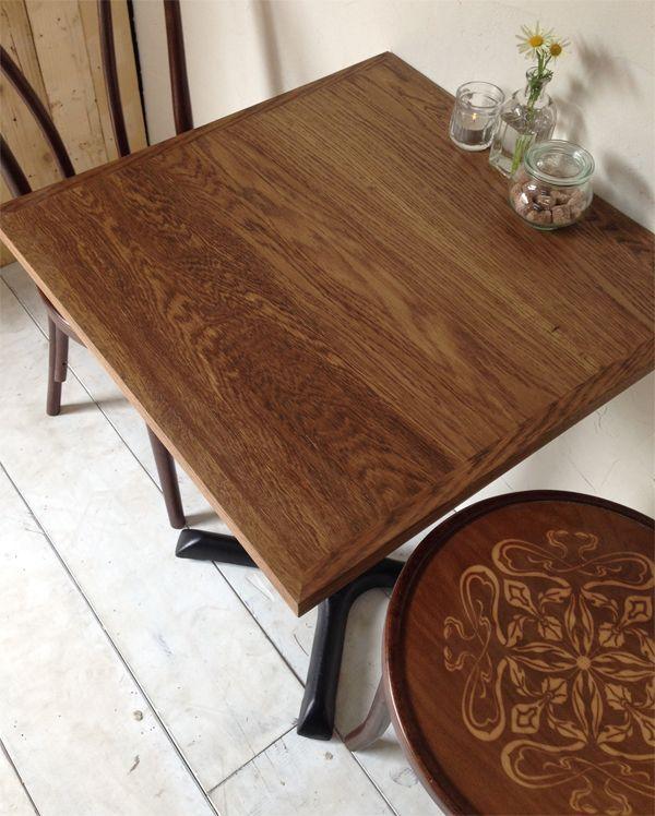 業務用カフェテーブル、ダークオーク材