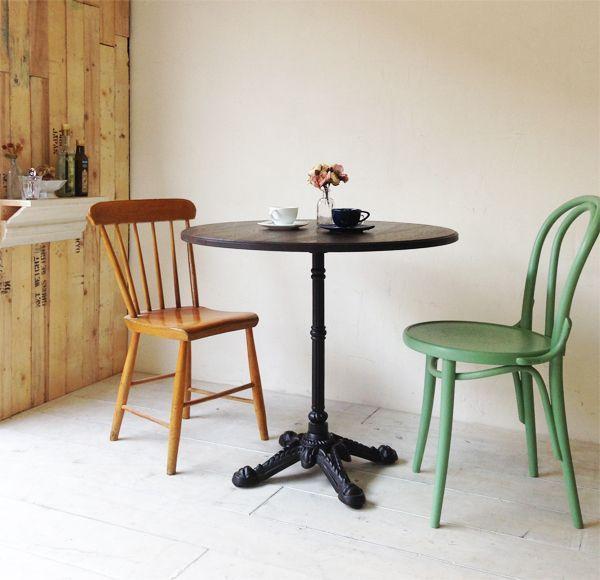 飲食店向け鉄脚アイアンテーブル、オーク材天板はサイズーダー可能です