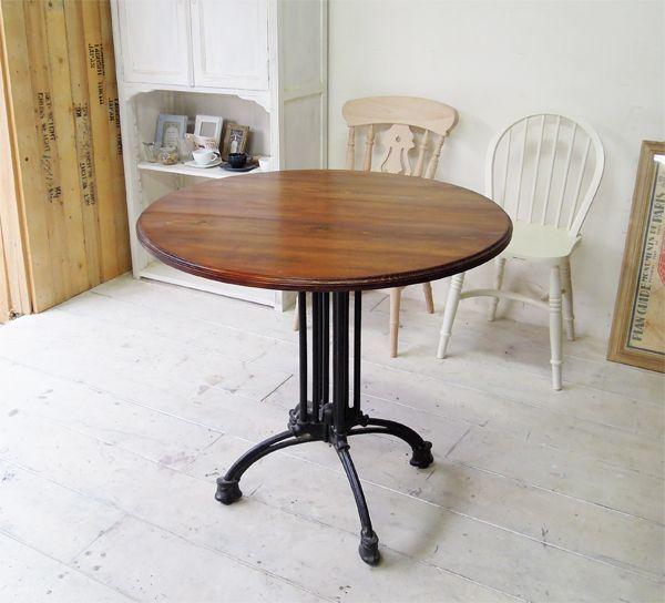 飲食店鉄脚アイアンテーブル、丸天板無垢板サイズーダー