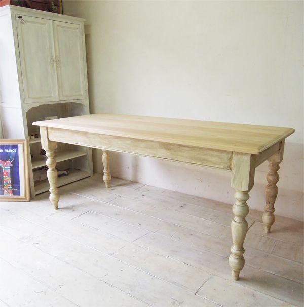 アンティーク調のホワイトダイニングテーブル1400〜1800